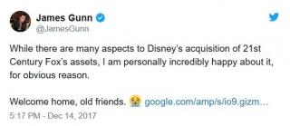 James Gunn: Choć wiele jest aspektów tej sprawy, ja osobiście niezmiernie się cieszę. Witajcie w domu, przyjaciele!