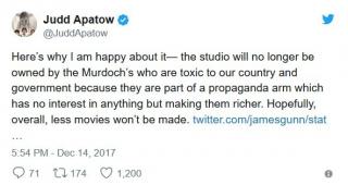 Judd Apatow: Oto dlaczego się cieszę - studio nie będzie należało już do Murdochów, którzy są toksyczni dla kraju i rządu