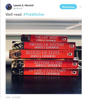 Lauren S. Hissrich - wpis z Twittera na temat Wiedźmina