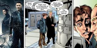 """Film sugeruje, że pierwotnym zamiarem Life Foundation było wynalezienie leku na raka - to odwołanie do komiksów z serii """"Ultimate Spider-Man"""", w których Eddie Brock i ojciec Petera Parkera w tym samym celu stworzyli kostium symbionta"""