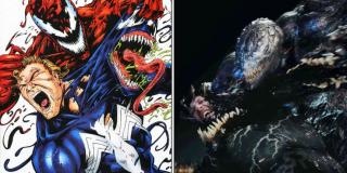 """Scena, w której Riot próbuje rozerwać głowę Venoma, pokazując jednocześnie oblicze Eddie'ego Brocka, hołduje słynnej okładce zeszytu komiksowego """"Venom: Carnage Unleashed #3"""" - wtedy jednak w roli przeciwnika najbardziej znanego z symbiontów czytelnikom zaprezentował się Carnage"""