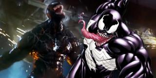 W trakcie walki z Riotem Venom usuwa z ciało jeden z kolców wroga - to wtedy na jego klatce piersiowej pojawia się biały symbol - przypomnijmy, że w komiksach charakterystyczny dla Venoma jest biały symbol pająka, łączący go z postacią Spider-Mana