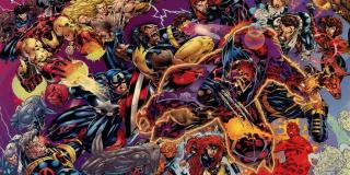 Onslaught - tytułowa postać to niezwykle potężny złoczyńca, który powstał w wyniku psionicznego połączenia Profesora X i Magneto; by go powstrzymać, Mściciele i Fantastyczna Czwórka musieli poświęcić samych siebie