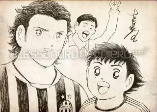Szkic twórcy Kapitana Tsubasy, który Del Piero otrzymał w prezencie