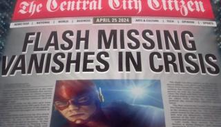 """Okładka gazety z przyszłości, pokazana w pilocie serialu Flash, nawiązywała do Kryzysu na nieskończonych Ziemiach, komiksu, który stanie się kanwą przyszłorocznego crossoveru - mówi ona o zniknięciu Flasha w czasie """"Kryzysu"""" i czerwonym niebie - to ostatnie w komiksie symbolizowało świat zmieniany przez Anti-Monitora"""