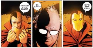 Tajemniczy pacjent w złotej masce w Azylu Arkham to Psycho-Pirate - manipulująca rzeczywistością i snami postać, która była kluczowa w czasie Kryzysu na nieskończonych Ziemiach