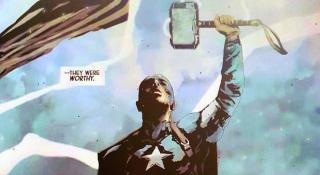 W komiksach Cap podniósł młot Thora - doszło do tego w zeszycie The Mighty Thor #390