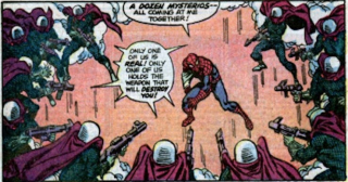 Wiele wersji samego siebie - Spider-Man często odnajdywał prawdziwego Mysterio dzięki pajęczemu zmysłowi, ale antagonista dopracował technikę - gaz potrafił zaburzyć zmysły Petera na tyle, że nie był on w stanie znaleźć prawdziwego Mysterio