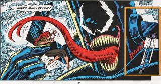 Venom Galactus - Spider-Man pokonał i Zielonego Goblina, i Hobgoblina, następnie był bliski odparcia ataku Venoma; Mysterio stworzył jednak iluzję, w ramach której symbiont urósł do rozmiarów Galactusa