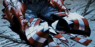 """Złamana tarcza Kapitana Ameryki pojawiła się nie tylko w wizji Tony'ego w """"Czasie Ultrona"""", ale również w komiksowej """"Rękawicy Nieskończoności"""" – tam również roztrzaskał ją Thanos."""