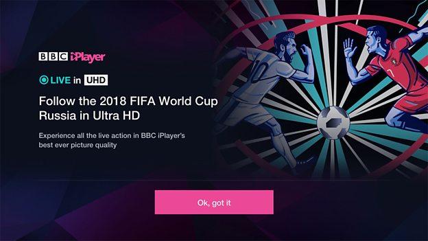 BBC iPlayer 4K Mundial Rosja 2018
