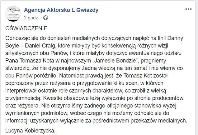 Oświadczenie - Tomasz Kot