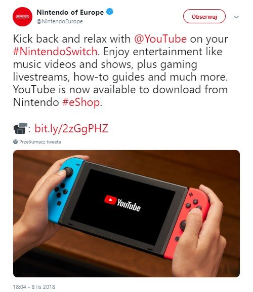 YouTube na Nintendo Switch