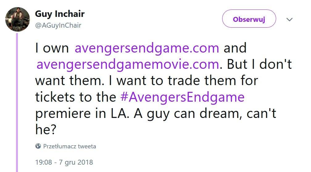 Avengers: Endgame - żart internauty