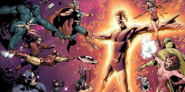 Saga o Korvacu - przeciwnikiem Avengers jest tu cyborg z przyszłości, Michael Korvac, który potrafi replikować moce takich potężnych postaci jak Grandmaster czy Galactus; w czasie walki z Mścicielami Korvac niszczy większość z nich, choć sprawy i tak przybierają nieoczekiwany obrót