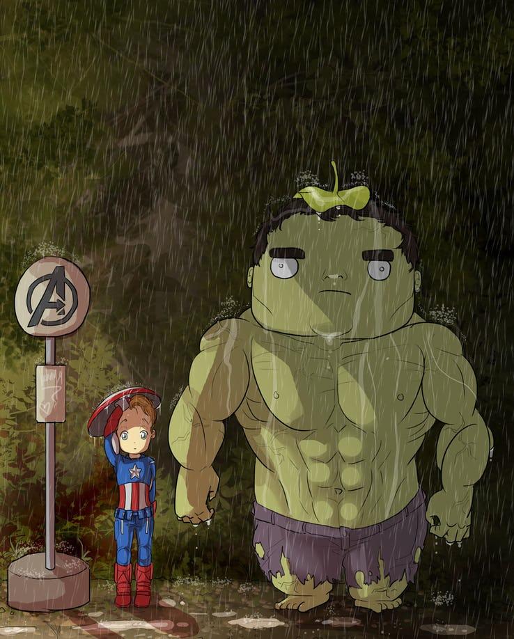 """Hulk jako postać z anime """"Mój sąsiad Totoro"""""""