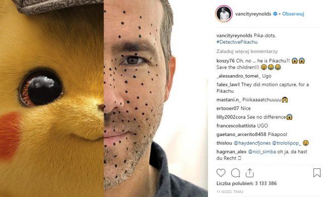 Ryan Reynolds jako detektyw Pikachu