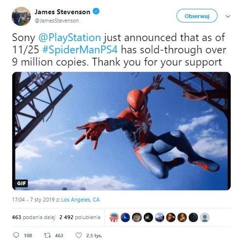 Marvel's Spider-Man - 9 milionów sprzedanych egzemplarzy