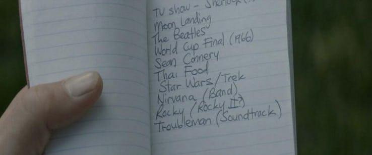 Słynna lista, która miała pomóc Capowi w nadrobieniu 70 lat historii, różniła się w zależności od kraju wyświetlania; w Wielkiej Brytanii dodano do niej Beatlesów,w Australii zaś Steve'a Irwina i zespół AC/DC