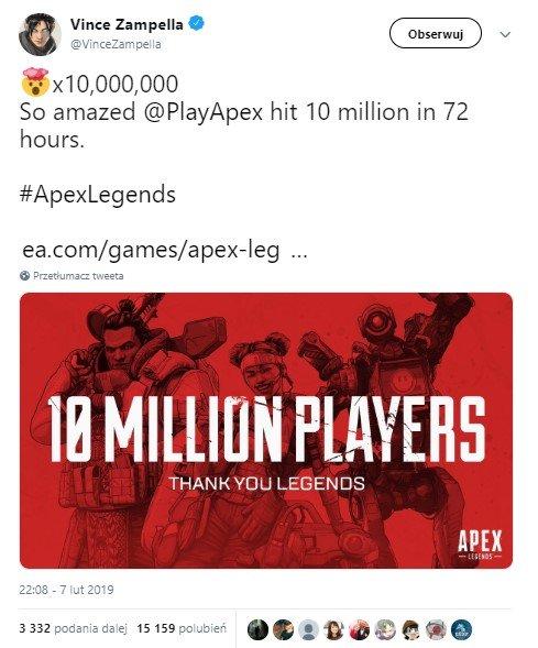 10 milionów graczy w Apex Legends