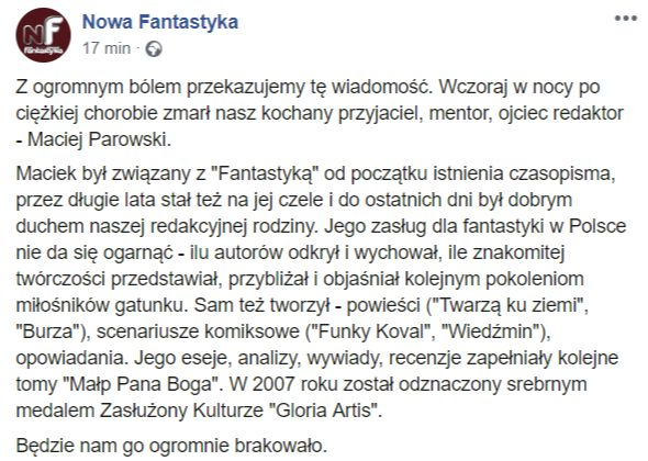 Maciej Parowski - NF - śmierć