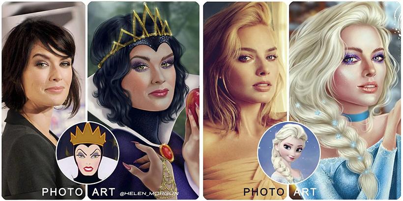 Znane gwiazdy jako postacie Disneya - pasują idealnie? Te prace podbiły sieć